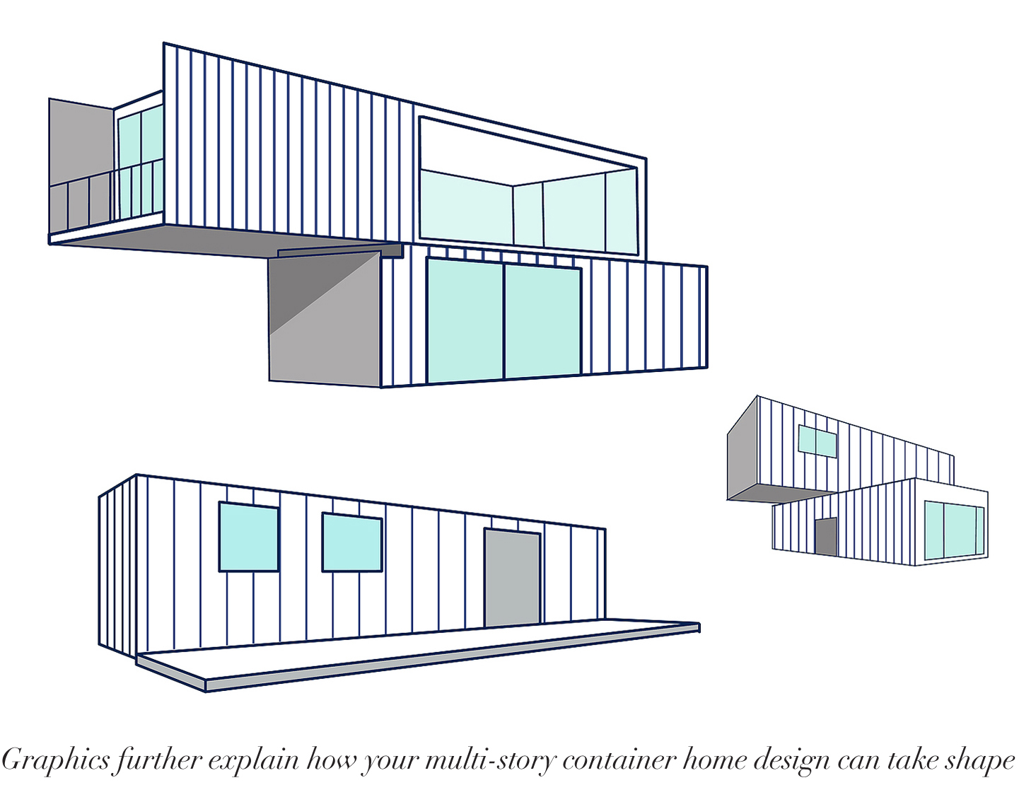 Container House Building With Logo Vector Isolated